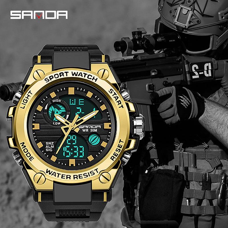 Sanda 男士手錶軍事多功能防水夜光戶外運動電子手錶