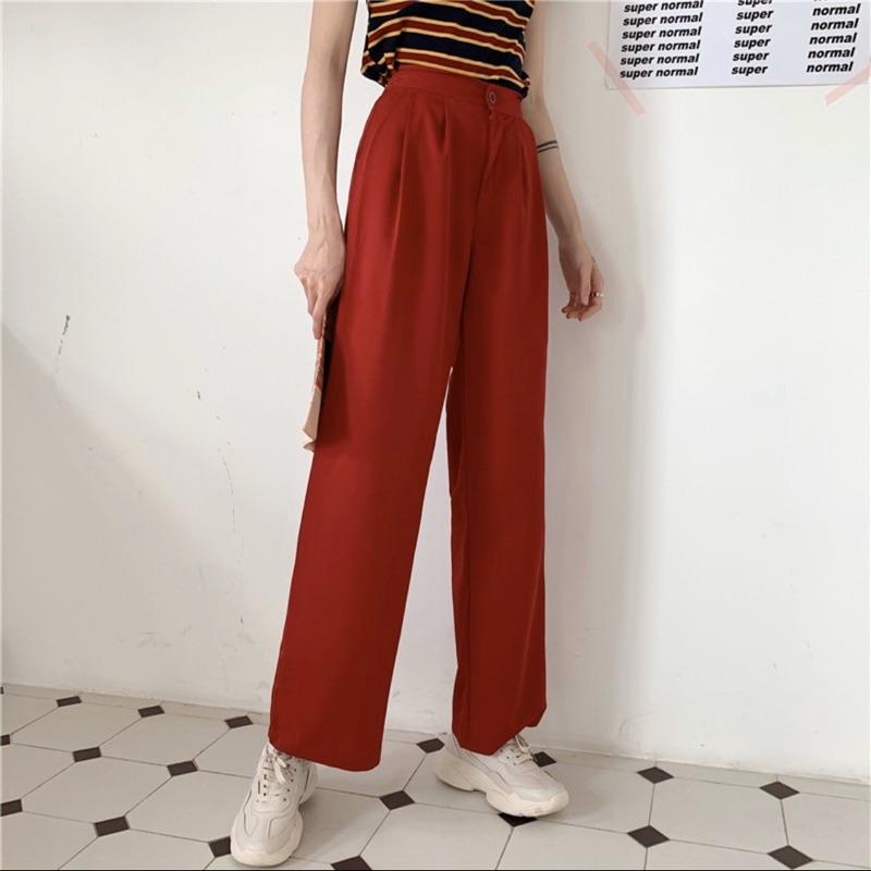 超涼感紅色落地西裝褲