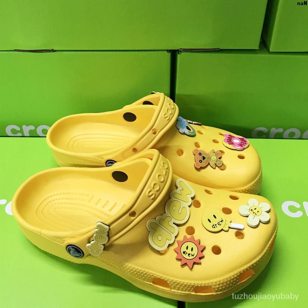 休閒鞋男鞋 洞洞 house拖鞋  比伯同款女鞋鞋   涼鞋  Drew'