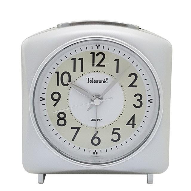 Telesonic/天王星鐘錶 經典鬧鐘銀色 靜音機芯 貪睡功能 靜音鬧鐘