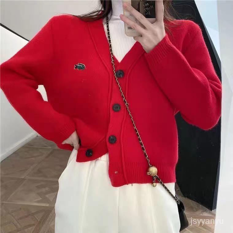 短款針織開衫外套女潮ins春秋新款韓版寬鬆小個子紅色V領毛衣外套