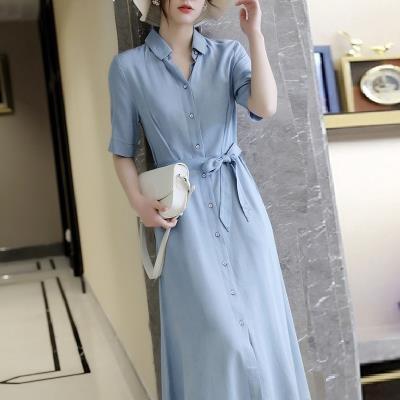 襯衫連身裙長版洋裝S-4XL微胖mm連身裙女復古設計感收腰顯瘦襯衫長裙NE261-G.衣時尚