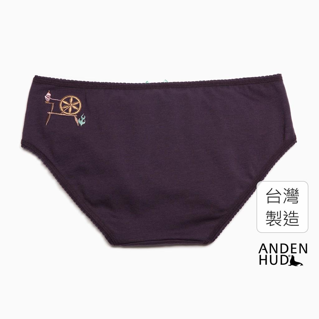 【Anden Hud】迪士尼反派系列.花邊中腰三角內褲(靛灰-刺繡紡織機) 台灣製