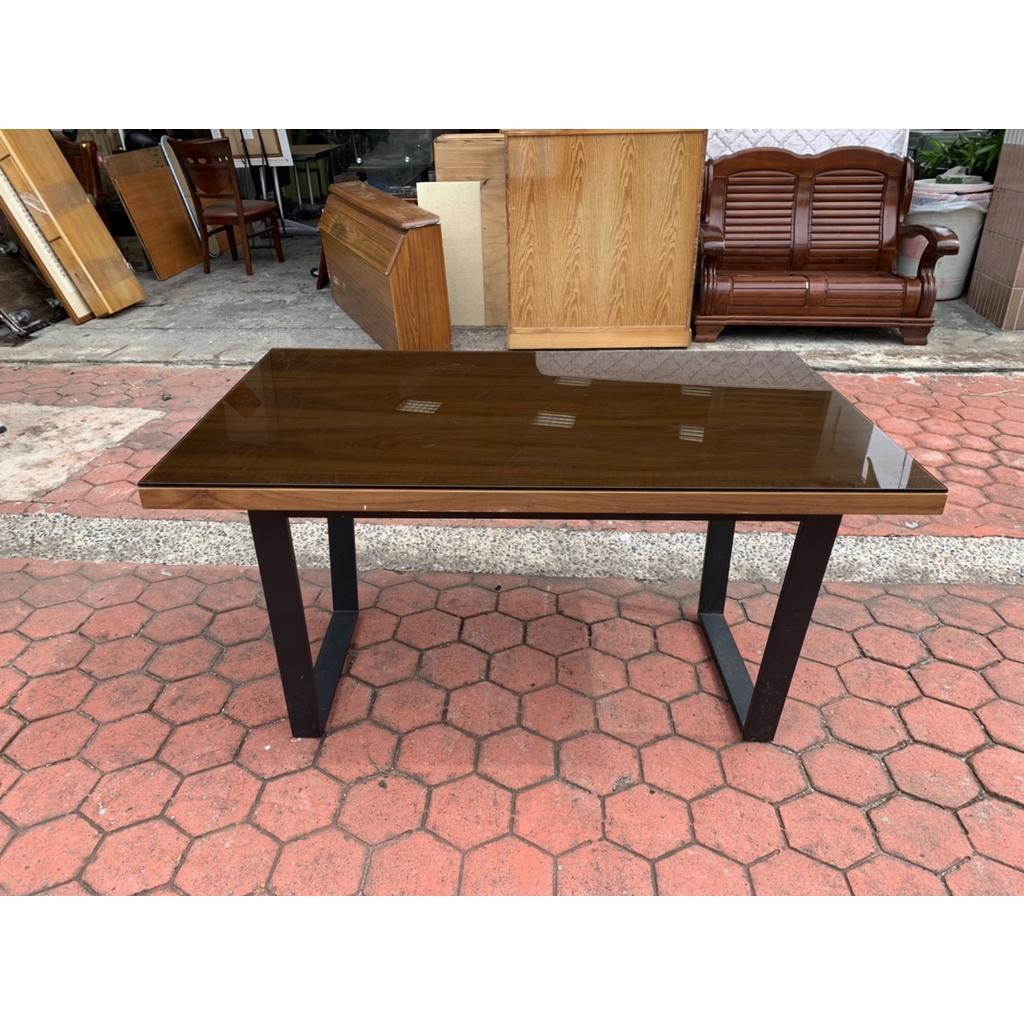 香榭二手家具*工業風積層木4.7尺 鐵腳餐桌(附玻璃)-餐廳桌-吃飯桌-工作桌-會議桌-簽約桌-洽談桌-火鍋桌-長方桌