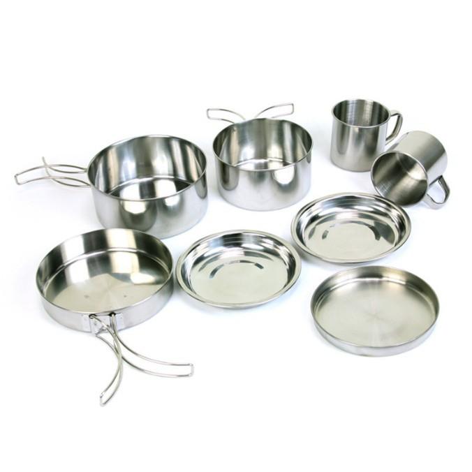 日式戶外不鏽鋼摺疊8件套鍋 登山露營套碗 套鍋/燒烤/鍋具 野炊 摺疊鍋具組合 (5-6人)