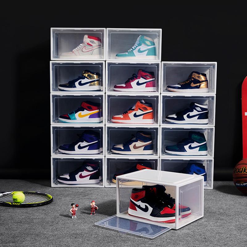 側開磁吸鞋盒 透明塑料籃球鞋盒籃球櫃翻蓋收納盒可拆卸折疊鞋箱