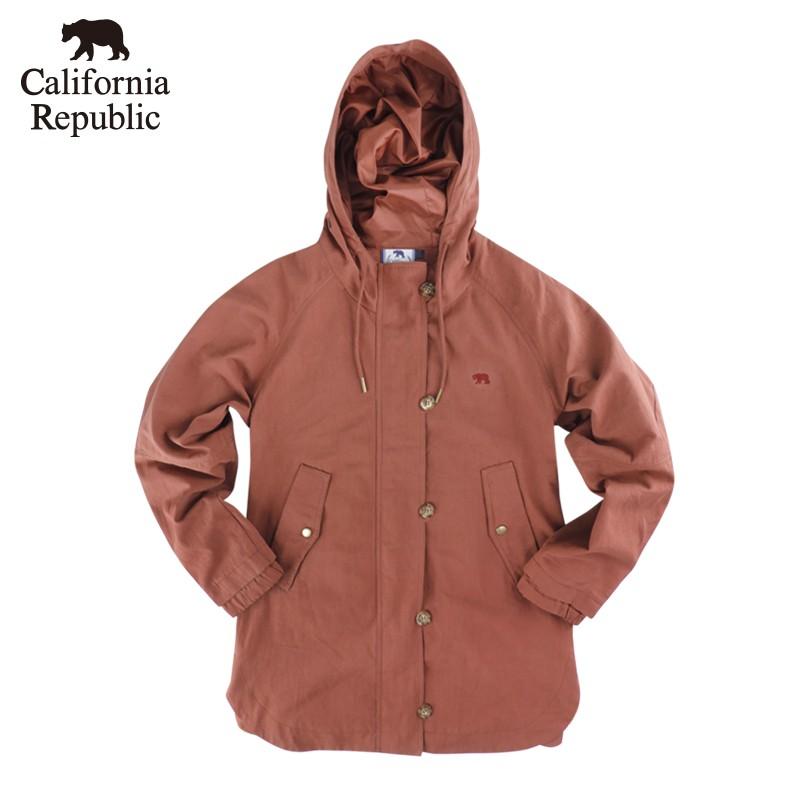 CALIFORNIA|小熊LOGO排釦連帽風衣外套(女)