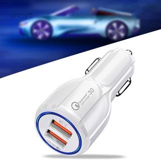 新款qc3.0保齡球6A快充車充電器 雙usb光環車載充電器 手機車載充電器