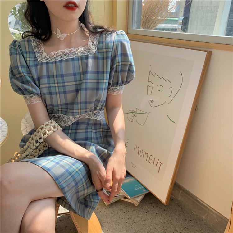 短袖藍格子洋裝 17341方領泡泡袖格紋連衣裙