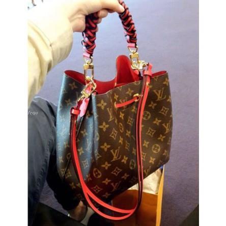 琳娜二手LV M43985 紅色 NéoNoé  束口式水桶包 +編織手柄