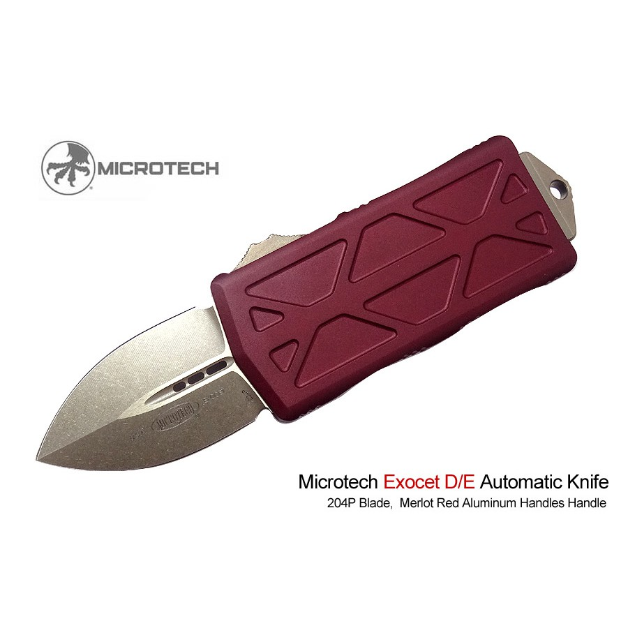 Microtech Exocet紅鋁柄OTF錢夾彈簧刀(銅色石洗刃204P鋼)