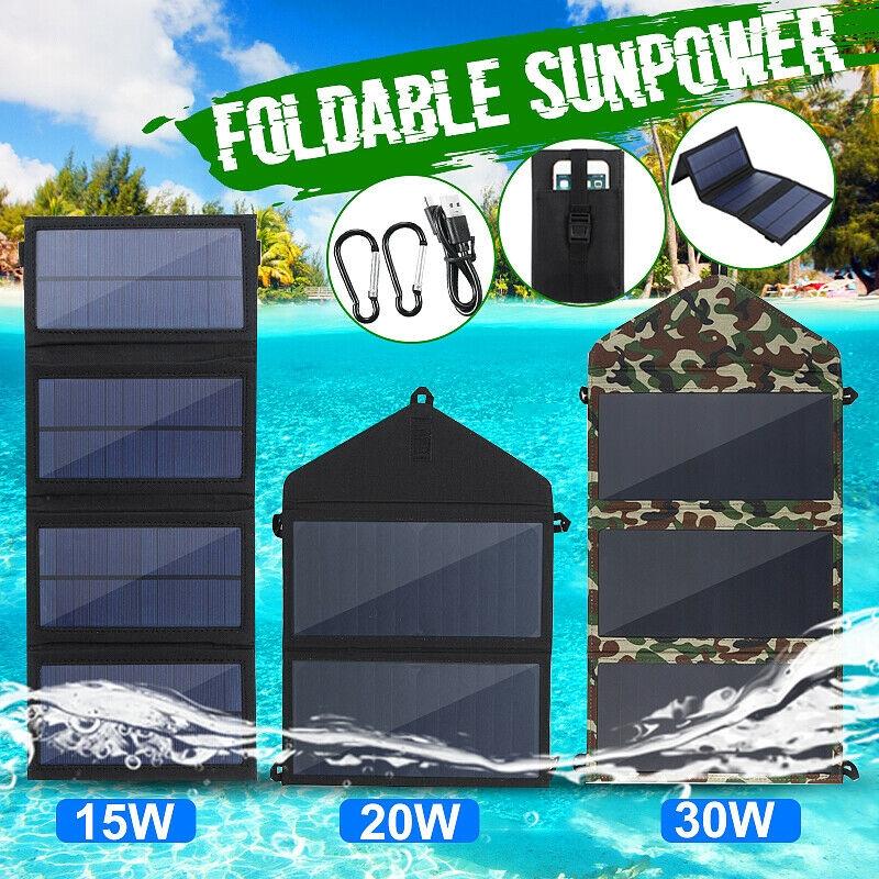15W 20W 30W 2A Sunpower 太陽能板折疊包 雙USB可折疊太陽能電--池板露營遠足手機充電器