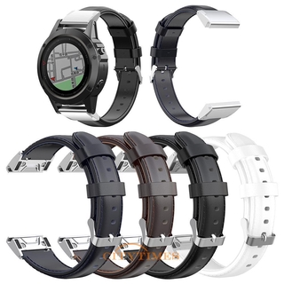 Garmin Fenix 6x /  5x /  5x Plus /  3 的 26mm 油蠟 Pu 皮革錶帶
