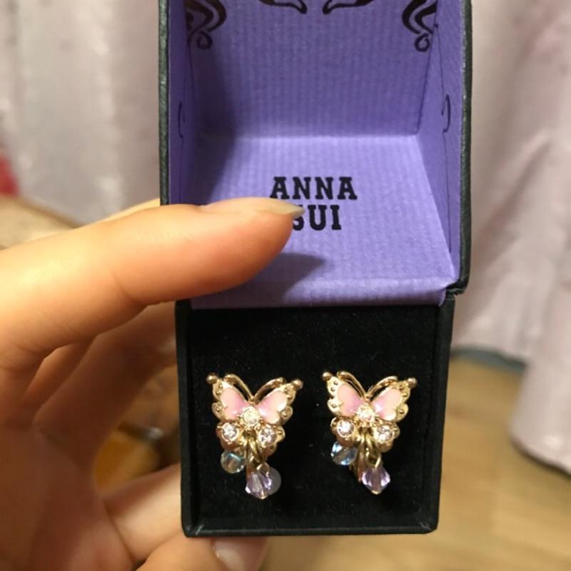 Anna sui 夢幻蝴蝶 耳夾 耳環 飾品 附盒