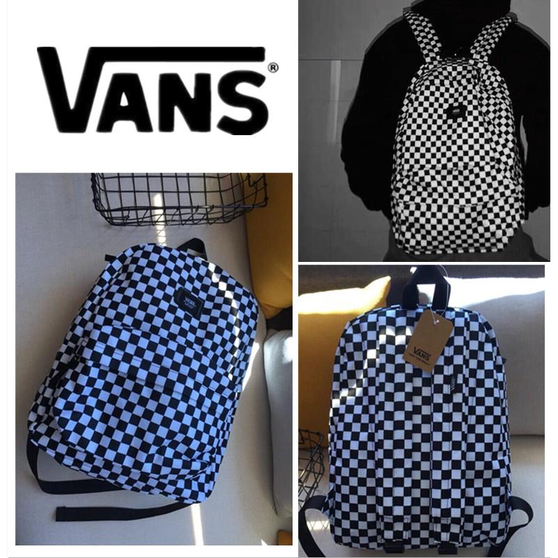 vans 棋盤格 後背包 男生雙肩包 黑色包包 男生包包 女生包包 後背包 學生書包 旅行包