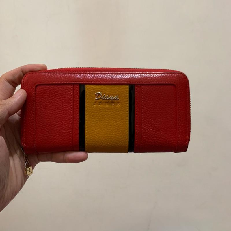 「二手包」Diana Janes 拉鍊長夾(紅色)