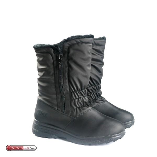 【女 中筒刷毛雪靴 黑】 SN192/中筒保暖雪靴/雪鞋/冰爪★滿額送