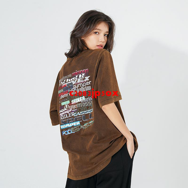 CBIANA/21SS  短袖T恤原創ins水洗后背賽博朋克印花體恤半袖情侶