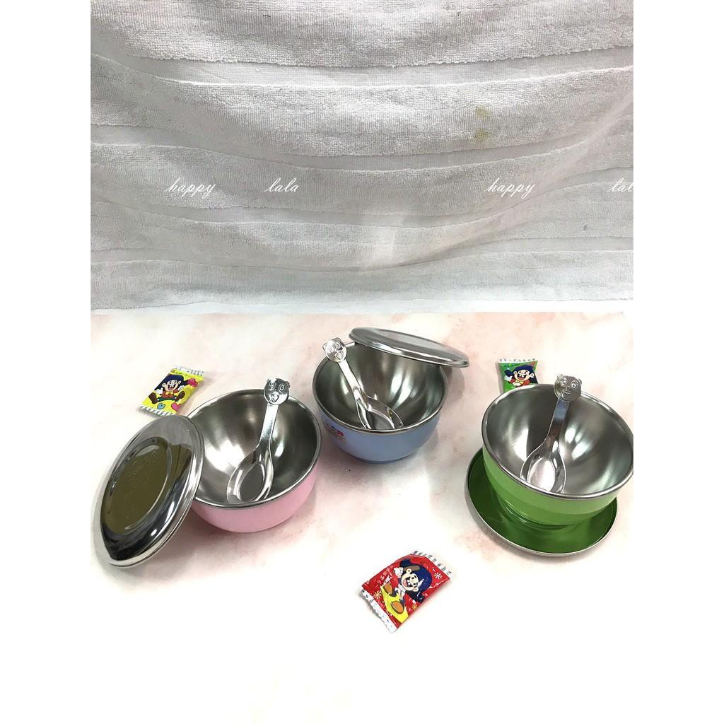 台灣SGS 現貨304不銹鋼雙層隔熱碗-不鏽鋼蓋 三色碗 兒童專用碗 幼稚園 育兒好物 臺灣製