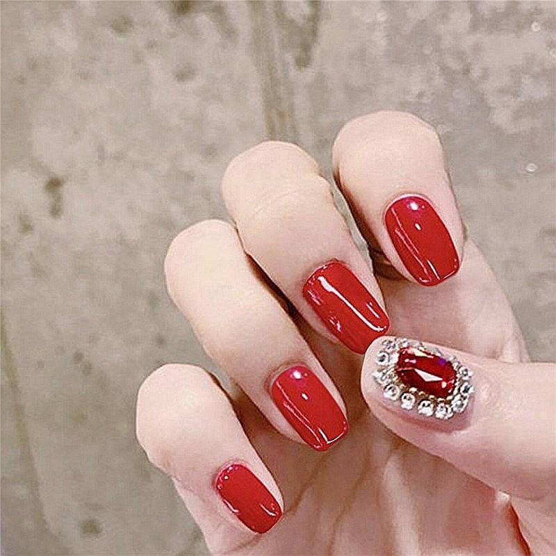 指甲貼片 NC987 紅方寶石跳穿戴美甲成品新娘款甲片假指甲貼片【買1送5配件】