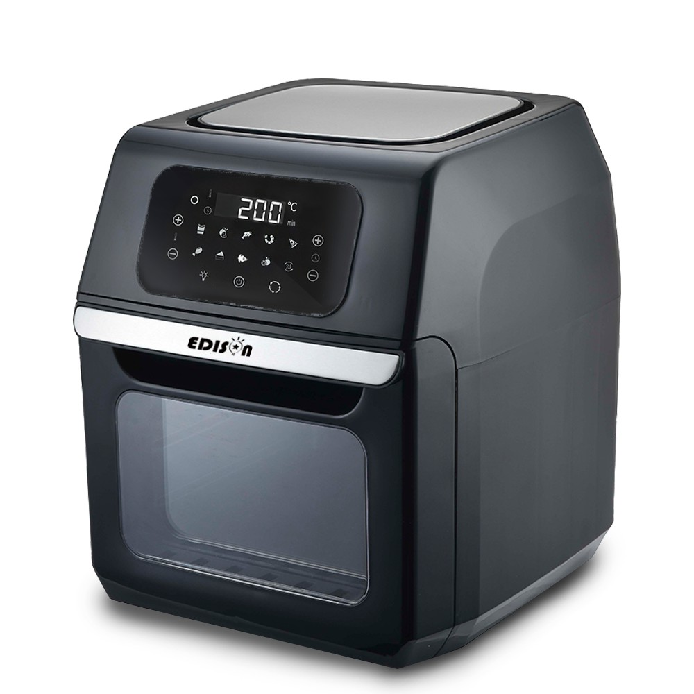 EDISON愛迪生 12L大容量微電腦旋風氣炸烤箱 附超值配件(K0066-D)