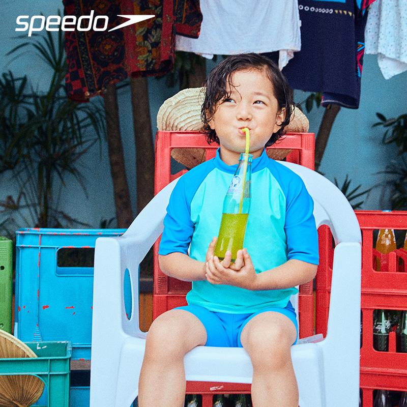 #最新款#21新款SPEEDO兒童泳衣男童分體小中大童寶寶男孩泳褲套裝學生泳衣