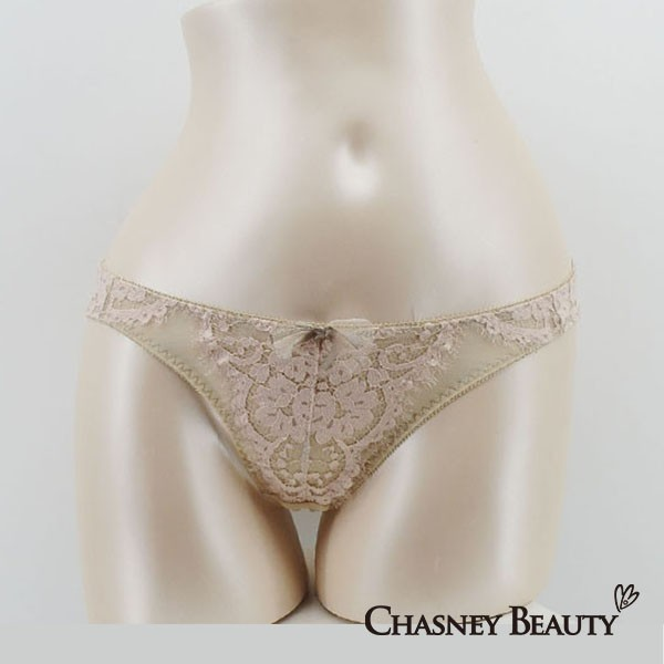 Chasney Beauty-flower蕾絲三角褲S-M(膚.雅灰)