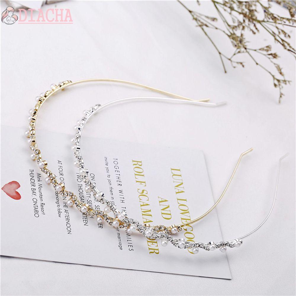 Diacha Beauty 水晶水鑽海帶時尚髮箍珍珠波浪髮帶女士配飾飾品女士婚禮派對