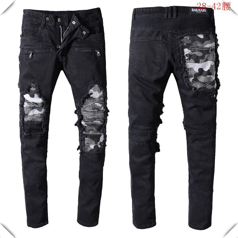 最熱銷款特惠巴爾曼牛仔褲 BALMAIN牛仔褲 時尚牛仔長褲 男士牛仔褲 男士刀割刮破小腳修身牛仔長褲71