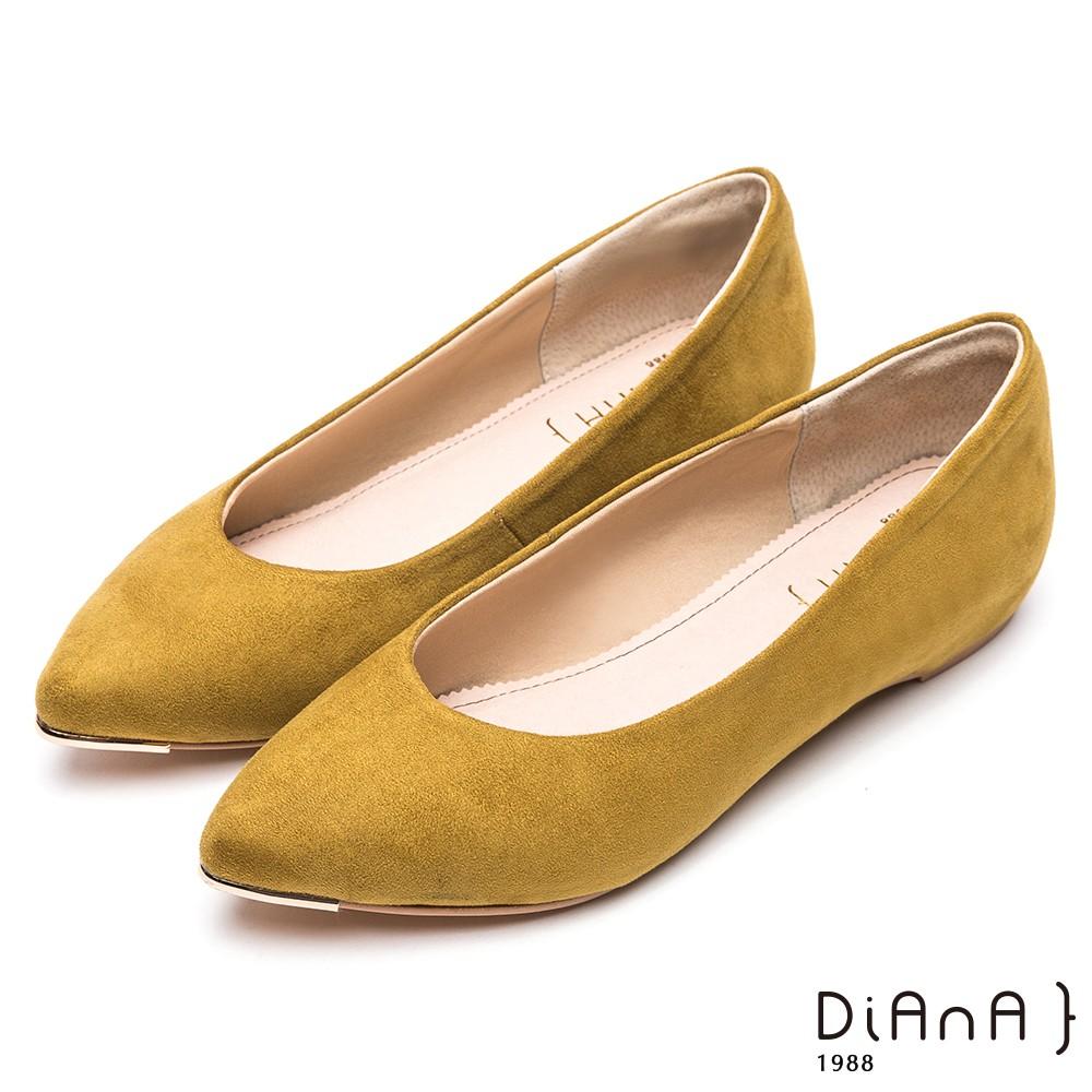 DIANA 魅力典雅—進口羊絨布尖頭平底鞋-芥末黃 9357-56