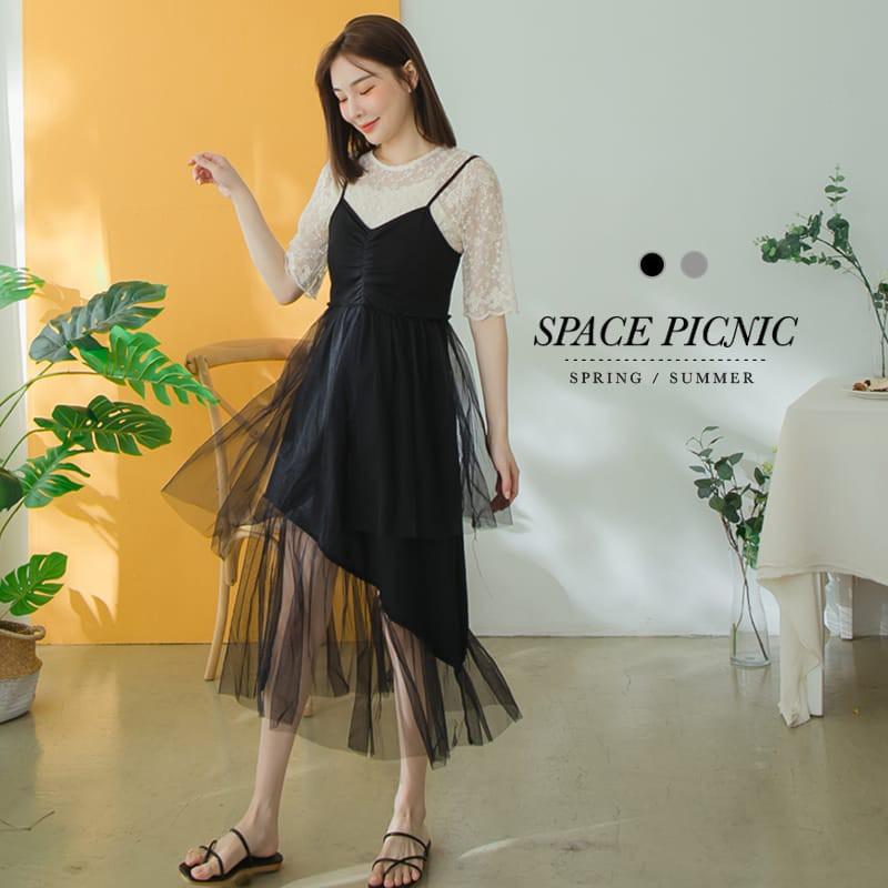 Space Picnic|拼接網紗V領細肩洋裝(現貨)【C20062033】