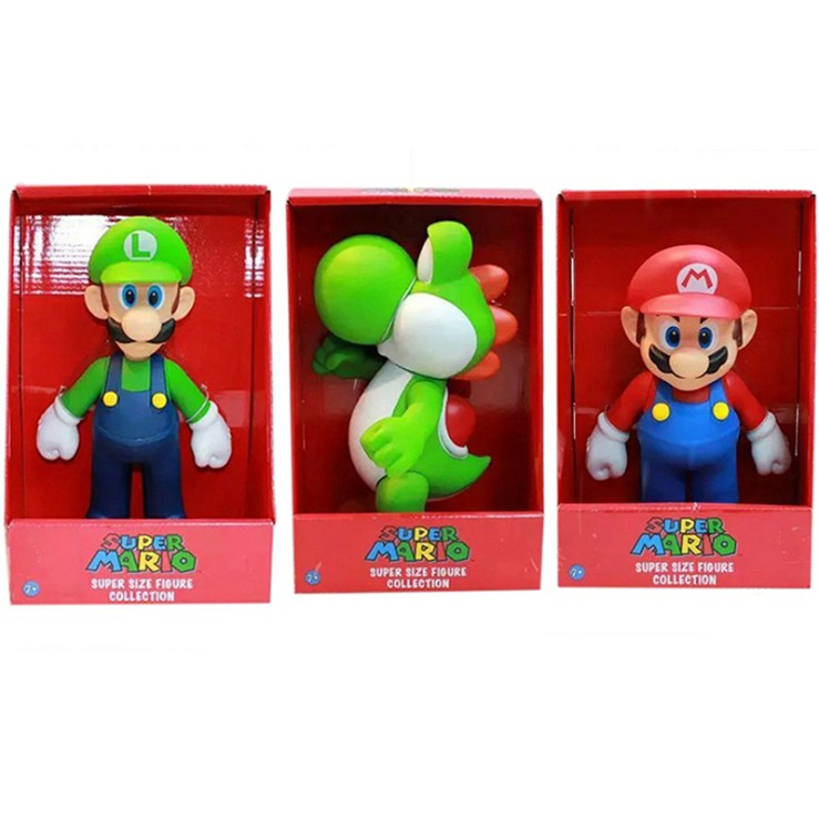 Super Mario 超級瑪利歐兄弟 馬力歐 路易 超級瑪麗 瑪莉歐模型公仔 可動 玩偶 HACKEN07