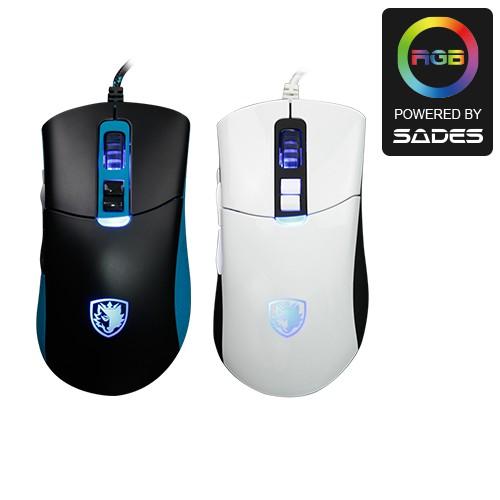 賽德斯SADES GUNBLADE 狼槍刀 有線/4000dpi/RGB 巨集變頻電競滑鼠(黑藍/黑白)