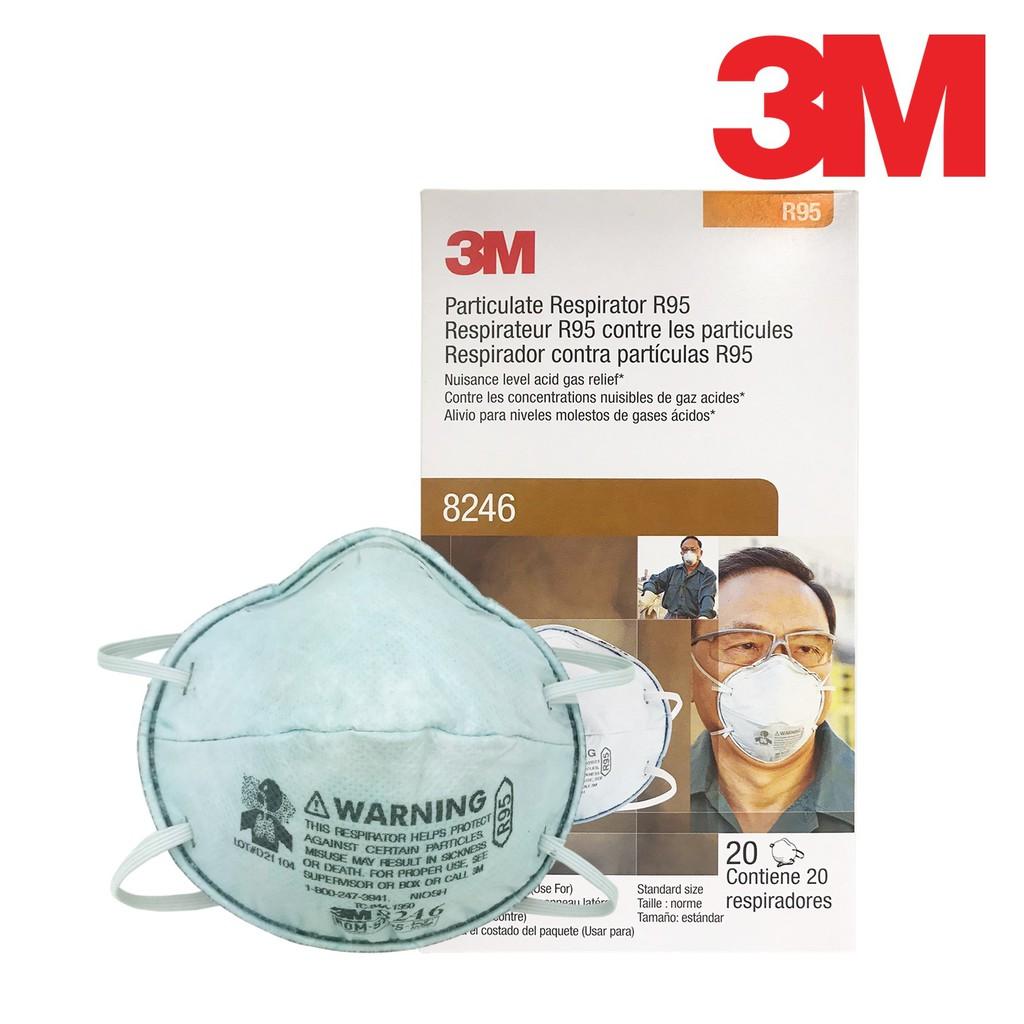3M R95 酸性氣體含活性碳拋棄式防塵口罩 8246, 盒裝版,(工業用頭帶式) 【傑群工業補給站】