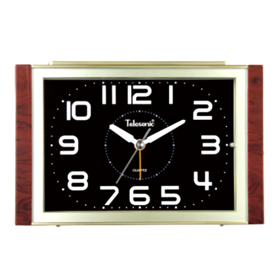 Telesonic/天王星鐘錶 經典再現鬧鐘香檳金-黑 靜音機芯 貪睡功能 音樂鬧鐘
