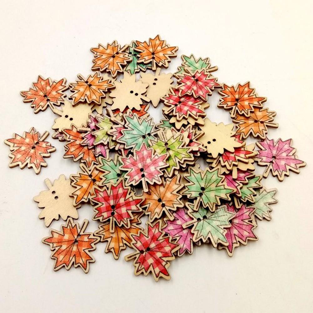 HMDC_50Pcs楓葉木製鈕扣DIY縫紉針線剪貼簿
