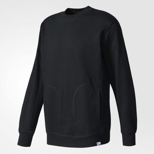 Adidas Originals XBYO Crew 男裝 上衣 長袖 大學T 棉質 口袋 黑 【運動世界】BQ3082