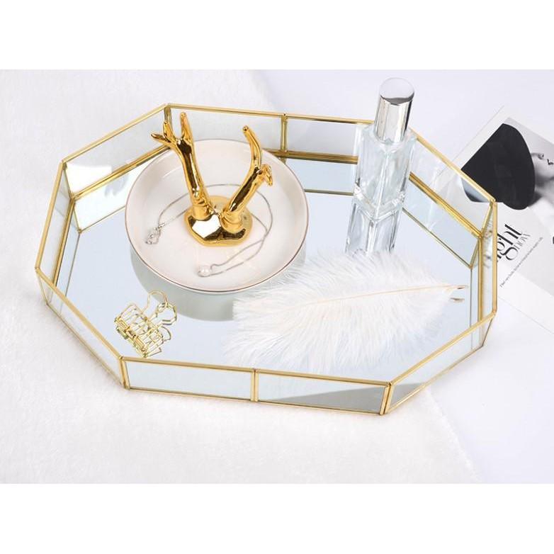 (小)十邊形玻璃收納盤SG473  北歐ins 金色托盤 簡約首飾化妝品擺件 復古銅條茶盤MMMMMMMMMM