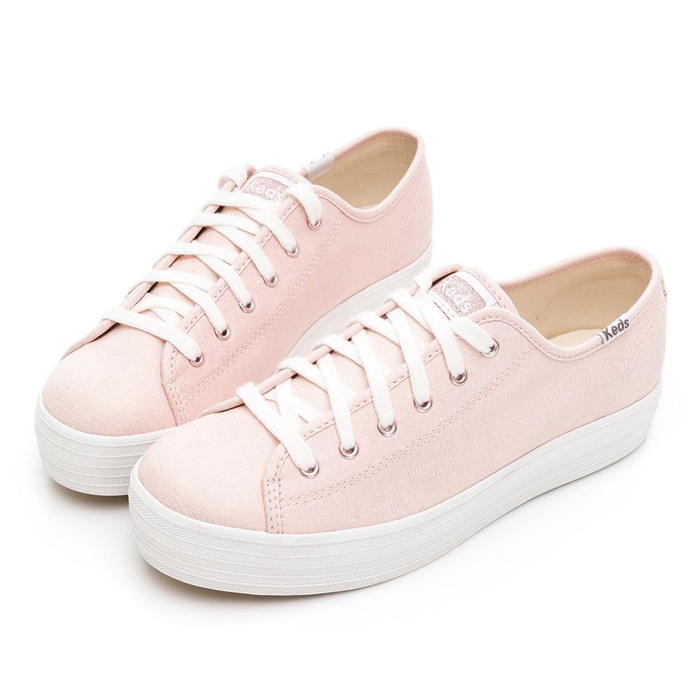 【Keds】TRIPLE KICK 奢華金絲帆布休閒鞋9211W133241-原價2290元