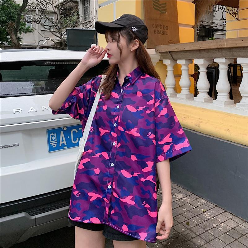 氣質款短袖襯衫女時尚印花拼色寬鬆顯瘦韓版ins潮學生個性減齡學生翻領開衫打底衫襯衣上衣