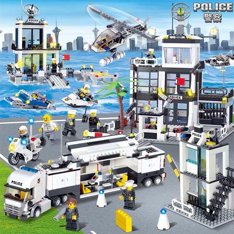 樂高城市系列全套警察局警系局房子別墅積木男孩子拼裝益智力玩具