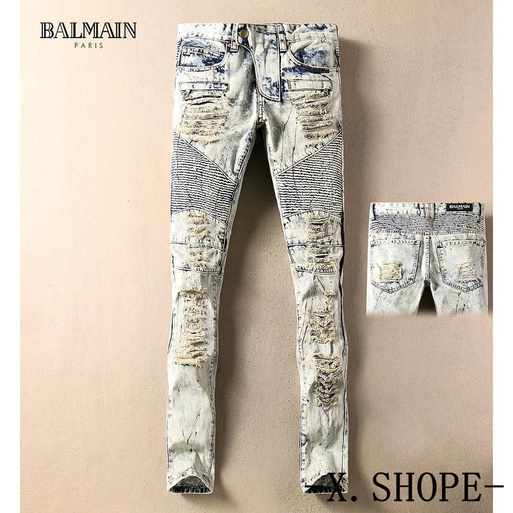 新款新款熱賣潮流破洞牛仔褲Balmain巴爾曼貼布復古男褲破洞機車修身牛仔褲小直筒褲休閒  -  碼165736894