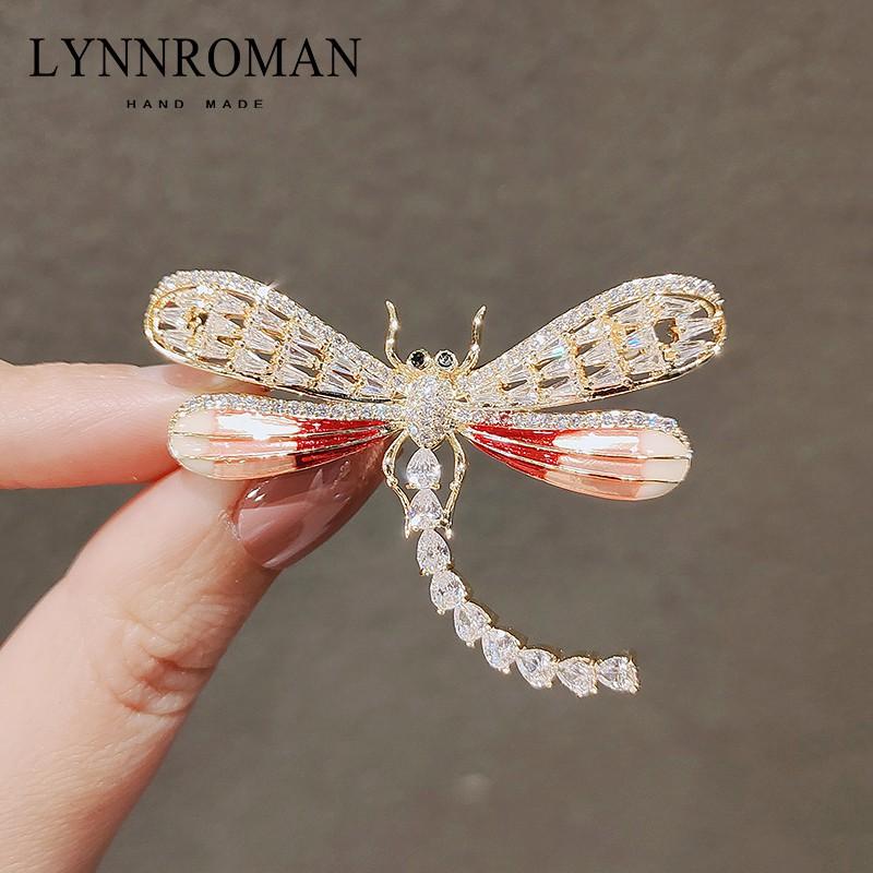 中國風蜻蜓胸針ins潮個性閃耀氧化鋯別針防走光優雅大氣西裝配飾