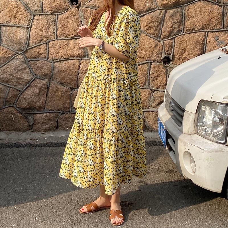 43098 復古法式碎花泡泡袖V領桔梗雪紡寬鬆連衣裙洋裝