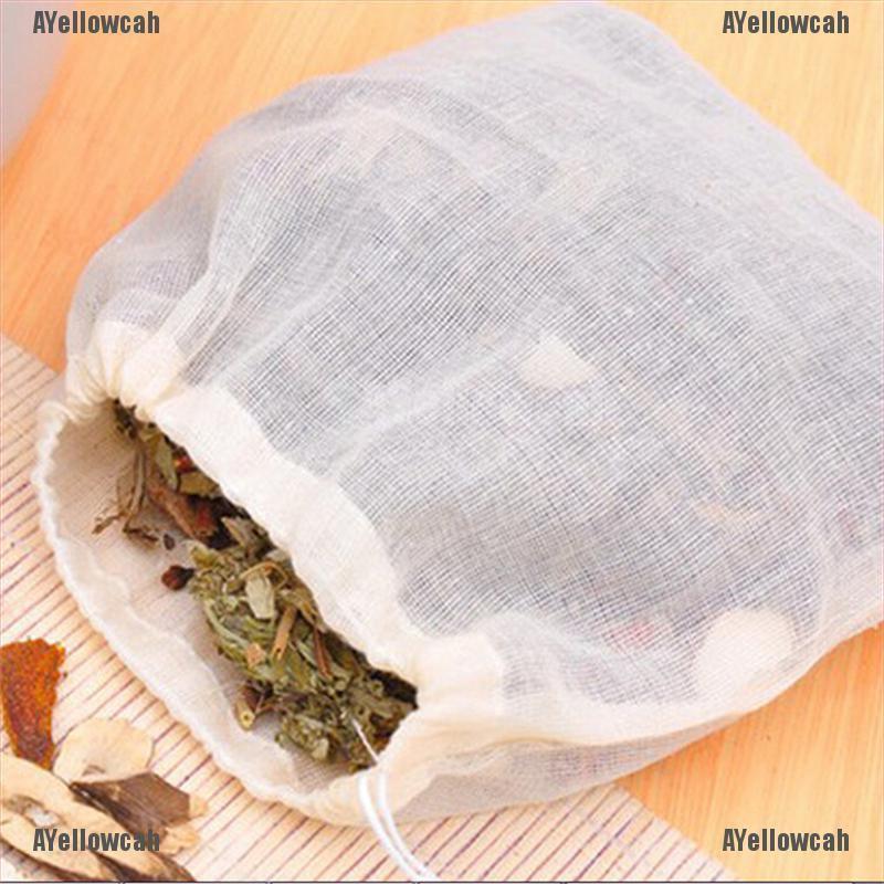AYC 10片8x10cm棉麻細繩抽繩可重複使用的香皂茶袋肥皂