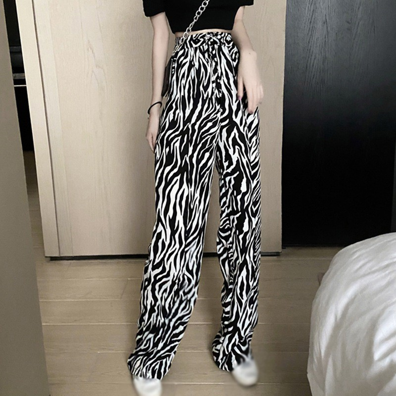 WG SHOP現貨 長褲女 寬褲 休閒長褲 女高腰寬鬆薄款迷彩紋垂墜感拖地褲