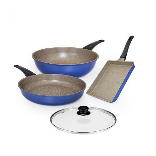 瑞士 MONCROSS 英國藍全球限量鍋具組 x1組 不沾鍋 炒鍋 牛排煎鍋 玉子燒鍋