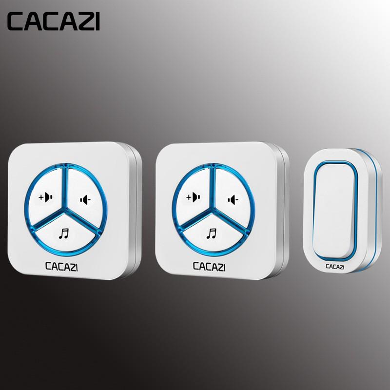 CACAZI無線門鈴防水按鈕280M遠程LED發光門鈴