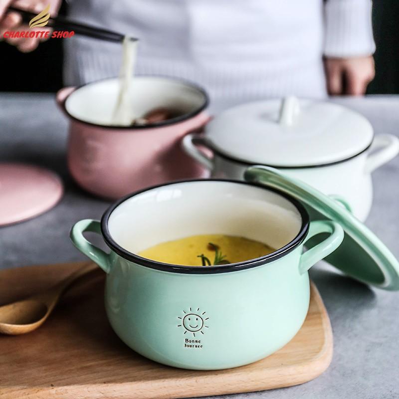 舍里 糖果色可愛陶瓷雙耳帶蓋泡面碗 湯碗沙拉碗家用小湯鍋拉面碗