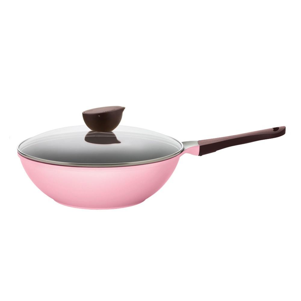 【韓國 NEOFLAM】EELA系列30cm炒鍋 粉紅色+玻璃蓋《WUZ屋子》
